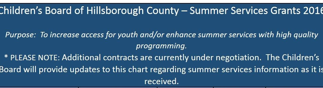 Children's Board of Hillsborough County – Summer Services Grants 2016
